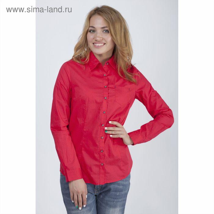 Блузка с длинным рукавом, принт горох, размер 50, рост 170 см, цвет красный (арт. 15113 С+)