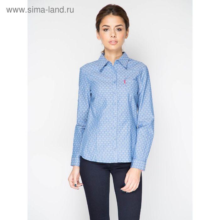 Блузка с длинным рукавом, размер 50, рост 170 см, цвет ярко синий (арт. 15135 С+)