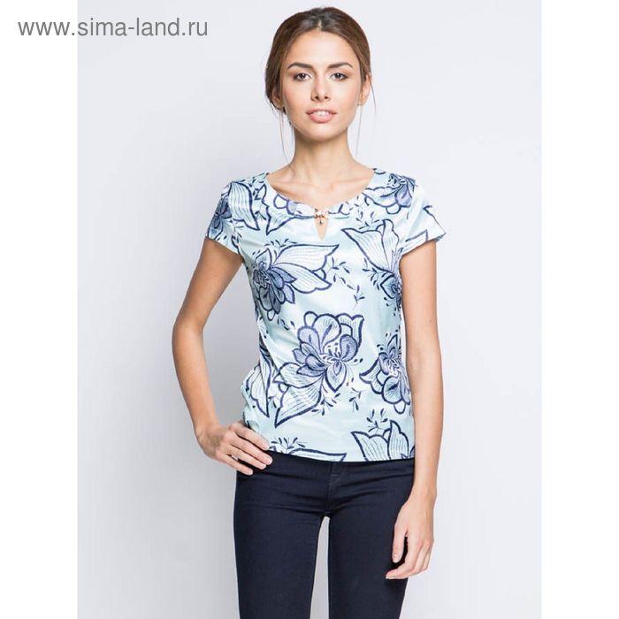 Блузка короткий рукав 15157-0.5,размер 48,рост 170 см,цвет голубой