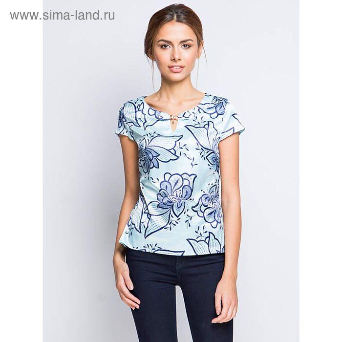 Блузка с коротким рукавом, размер 50, рост 170 см, цвет голубой (арт. 15157-0.5 С+)