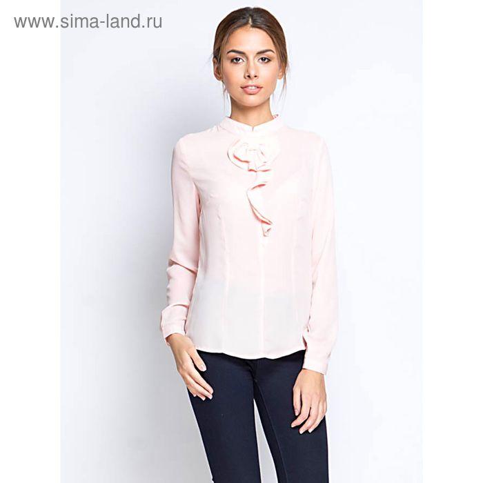 Блузка с длинным рукавом, размер 50, рост 170 см, цвет персик (арт. 15160 С+)