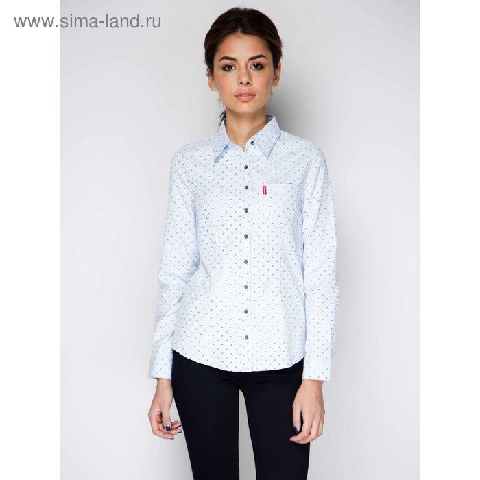 Блузка с длинным рукавом, размер 50, рост 170 см, цвет голубой (арт. 15137 С+)