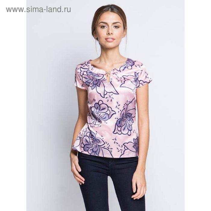 Блузка с коротким рукавом, размер 50, рост 170 см, цвет розовый (арт. 15157-0.5 С+)