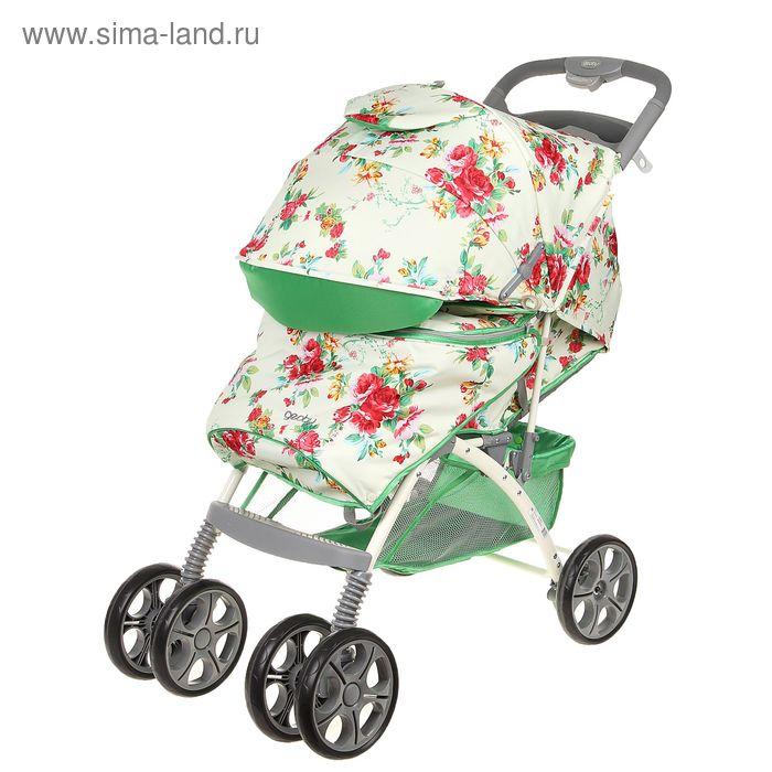 Прогулочная коляска Geoby, цвет зелёный с рисунком