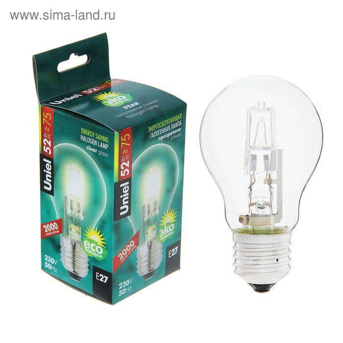 Лампа галогенная Uniel, Е27, 52 Вт, 230 В, стандарт, прозрачная