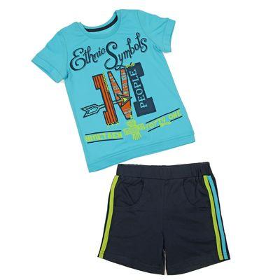 Комплект для мальчика (футболка+шорты), рост 110 см (5 лет), цвет тёмно-синий/бирюзовый (арт. Н024)