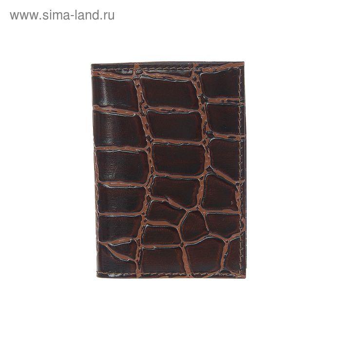 Визитница вертикальная, 1 ряд, 18 листов, коричневый крокодил