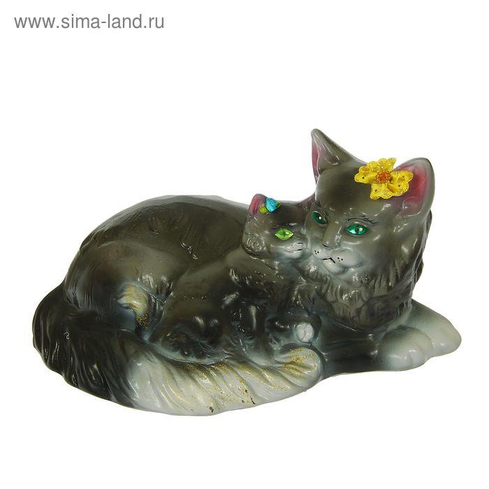 """Копилка """"Кошка с котёнком"""" глянец, серая"""