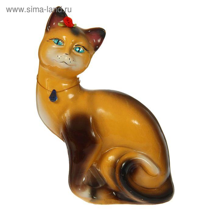 """Копилка """"Кошка Шарлотта"""" глянец, бежево-шоколадная"""