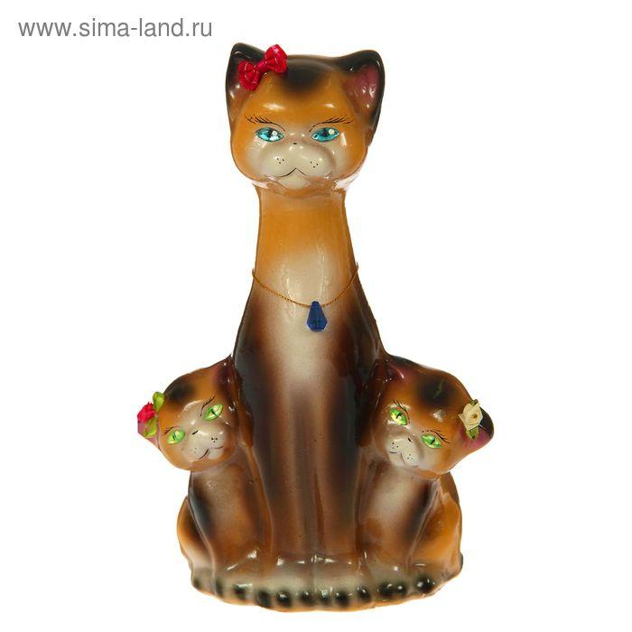 """Копилка """"Кошка с котятами"""" глянец, бежево-шоколадная"""