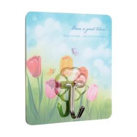 Крючок-наклейка «Flowers», рисунок МИКС