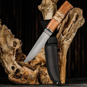 Нож охотничий, Мастер К, лезвие 14 см, в чехле, деревянная рукоять с пробковой вставкой в Донецке