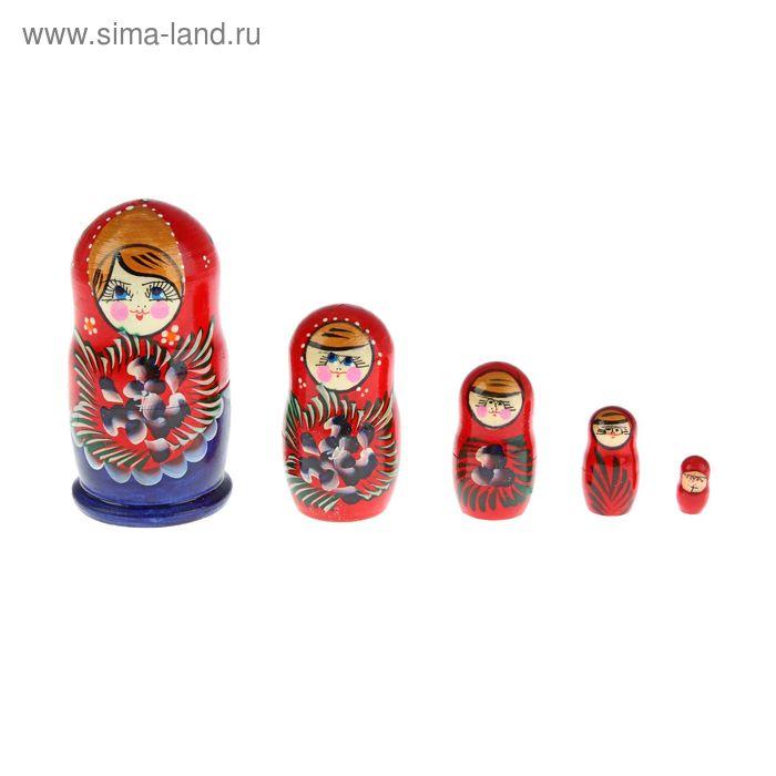 Матрешка малая красно-синяя 8-10см арт.30020