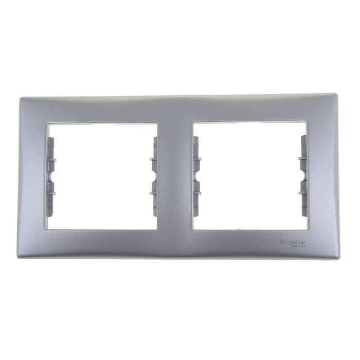 """Рамка """" Sedna"""" SchE SDN5800360, двухместная, горизонтальная, цвет алюминий"""