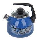 Чайник со свистком «Вологодский сувенир», 3 л, фиксированная ручка, цвет ярко-синий - фото 1636582