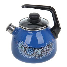 Чайник со свистком «Вологодский сувенир», 3 л, фиксированная ручка, цвет ярко-синий