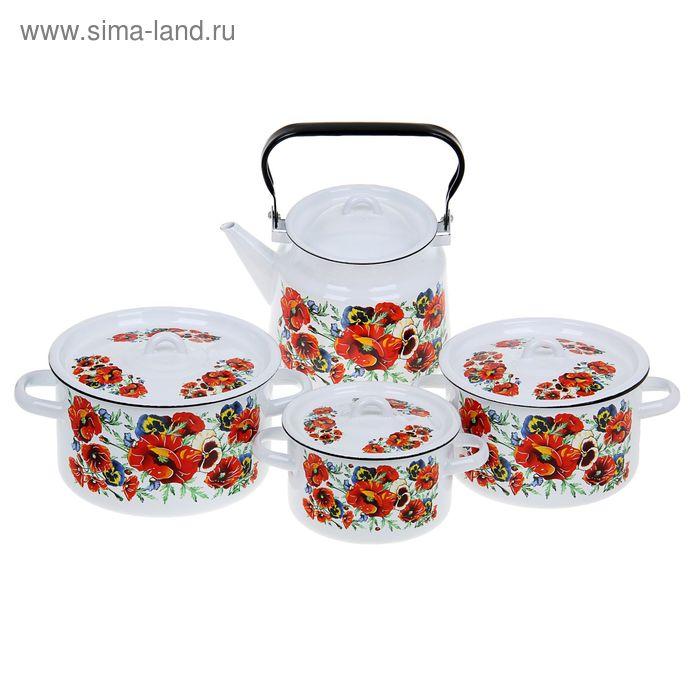 """Набор посуды """"Маки. Мечта"""", 4 предмета: кастрюли 1,5 л; 2,9 л; 3,9 л; чайник 3,5 л"""