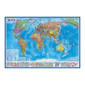Интерактивная карта мира политическая, 101 х 70 см, 1:32 М, ламинированная, настенная