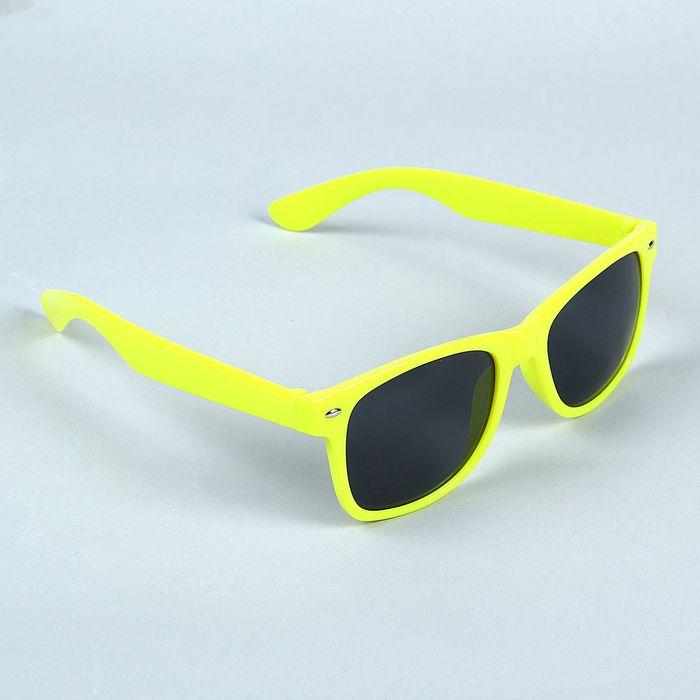 Очки солнцезащитные Wayfarer, оправа жёлтая с овалами, линзы чёрные
