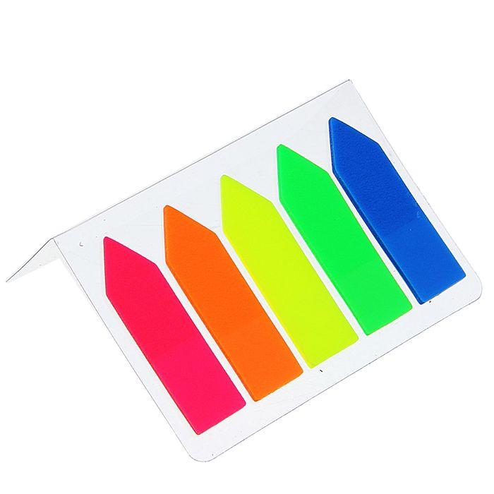 """Блок-закладка с липким краем пластик """"Стрелки"""" 15 л, 5 цв, флуорисцентный, в блистере, МИКС"""