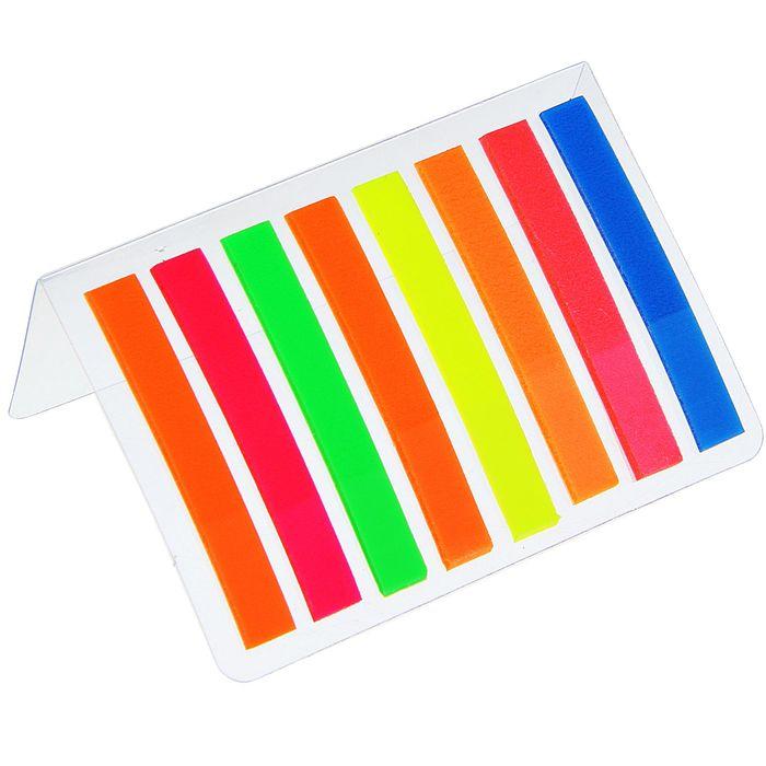 Блок-закладки с липким краем пластик 10 мм*44 мм, 20 л, 8 цв, в блистере, МИКС