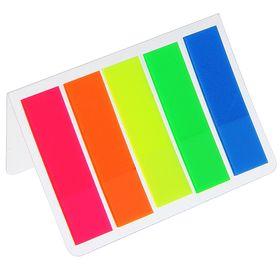Блок-закладка с липким краем пластик 15 л, 5 цв, флуорисцентный, в блистере МИКС Ош