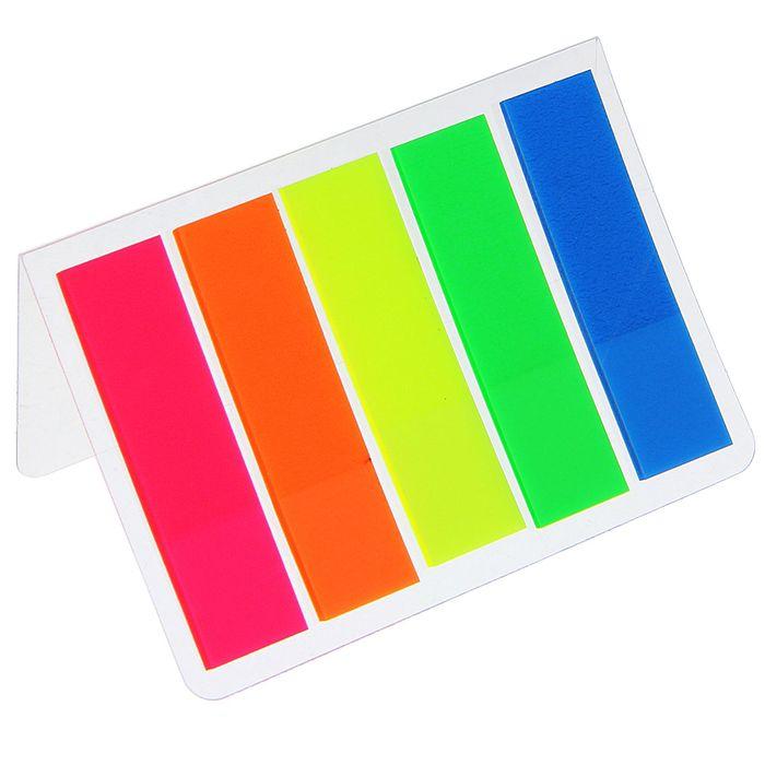 Блок-закладка с липким краем, пластиковая, флуоресцентная, 15 листов, 5 цветов, в блистере МИКС