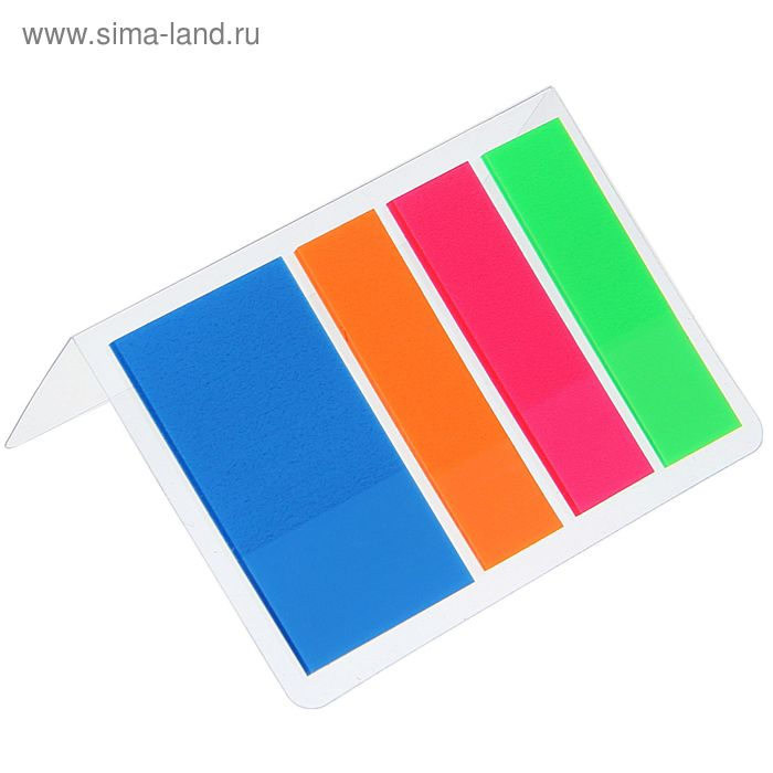 Блок-закладки с липким краем пластик 25 мм*44 мм, 20 л, 4 цв, в блистере, МИКС