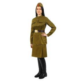 Костюм женский «Военный», гимнастёрка, юбка, ремень, пилотка, 92-100-164, р. 46