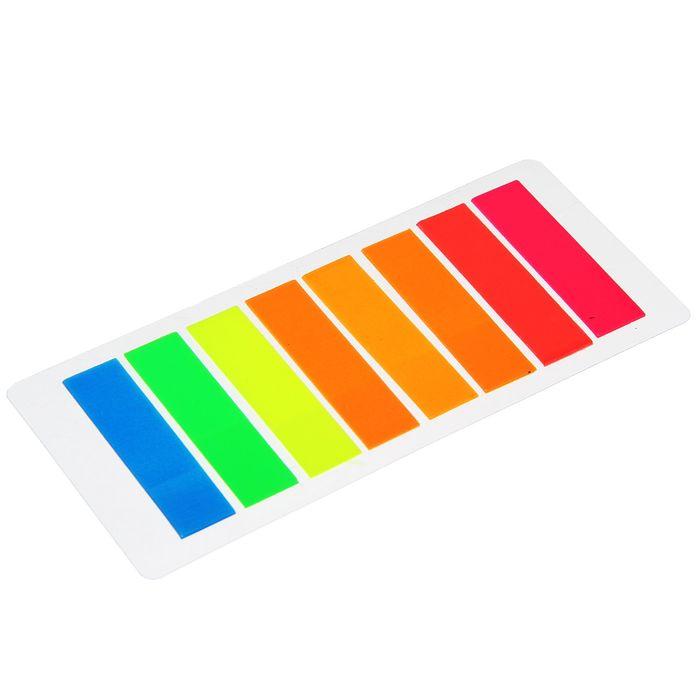 Блок-закладка с липким краем пластик 15 л, 8 цв, флуорисцентный, в блистере, МИКС