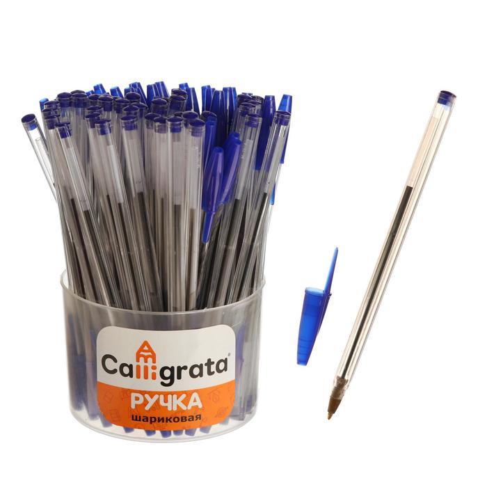 Ручка шариковая, прозрачный корпус, стержень синий