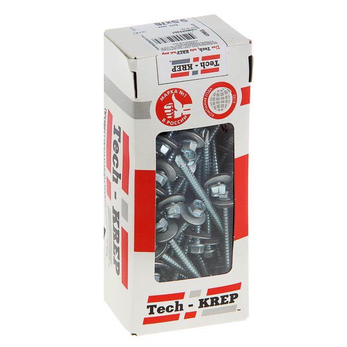 Саморезы кровельные TECH-KREP, 5.5х76 мм, сверло, цинк, с шайбой, 60 шт.