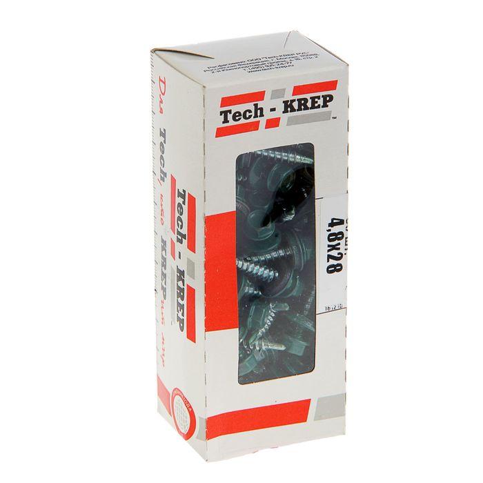 Саморезы кровельные TECH-KREP, 4.8х28 мм, сверло, зеленый RAL 6005, 60 шт.
