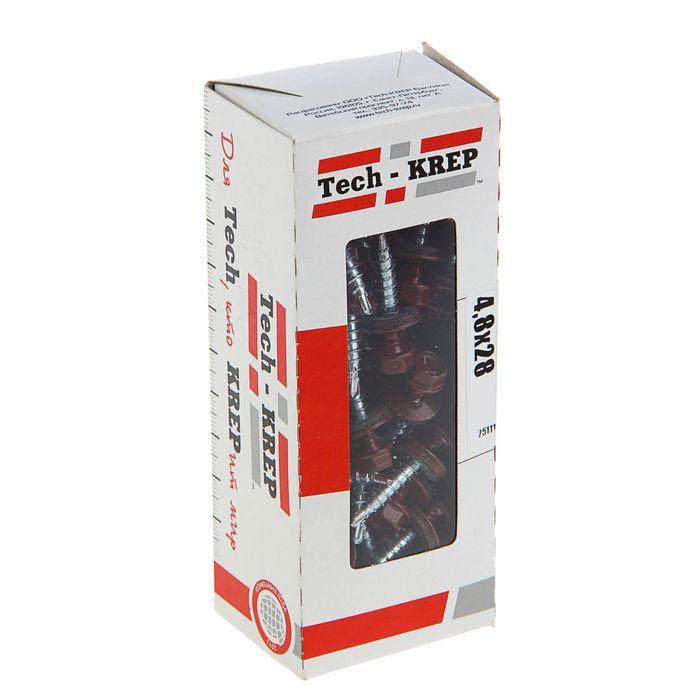 Саморезы кровельные TECH-KREP, 4.8х28 мм, сверло, винно-красный RAL 3005, 60 шт.