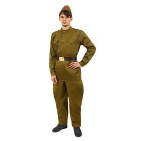 Костюм мужской «Военный», гимнастёрка, брюки-галифе, ремень, пилотка, р. 52, рост 176-180 см