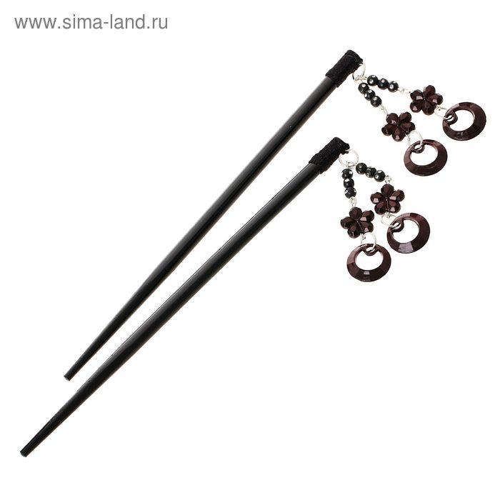 """Палочки для волос """"Линжери"""", колечки, чёрные (набор 2 шт.)"""