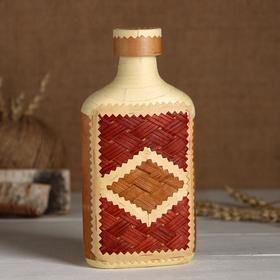 Фляжка «Сувенирная», оформленная берестой, плетение и тиснение, микс, береста в Донецке