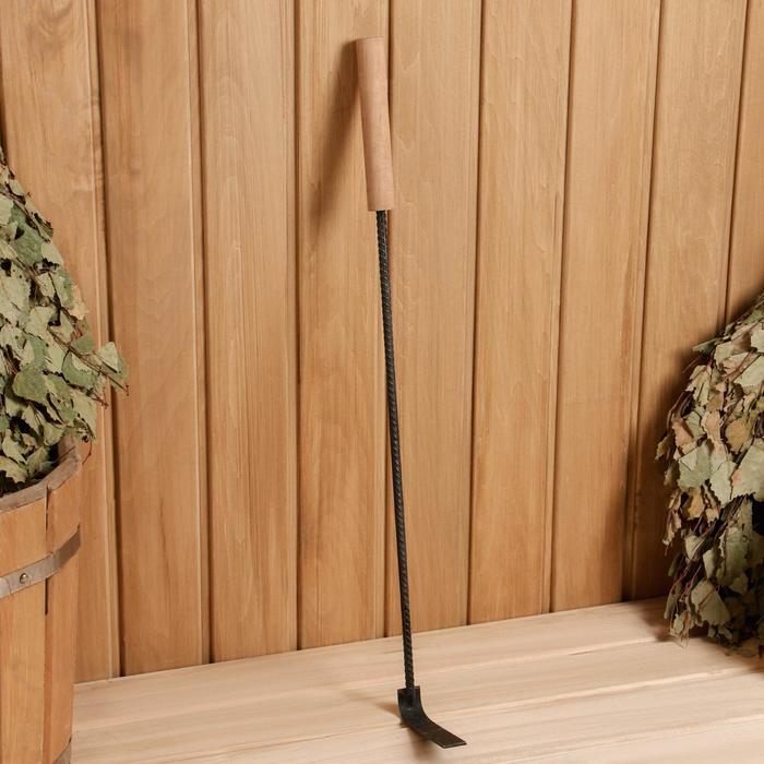Кочерга металлическая с деревянной ручкой, длина 60 см