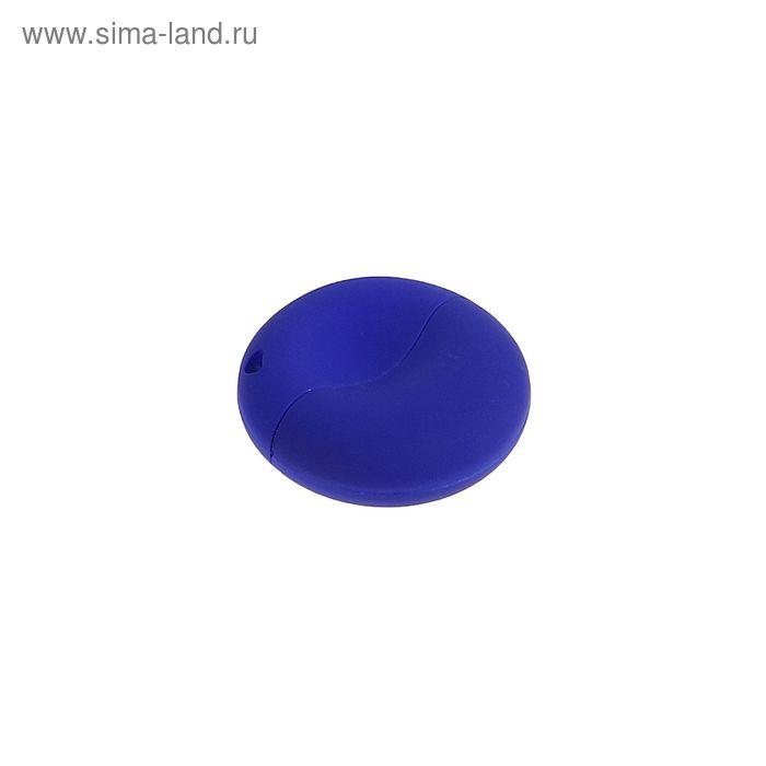 Флешка USB 8Gb, пластик, круглая, под УФ-печать, синий перламутр