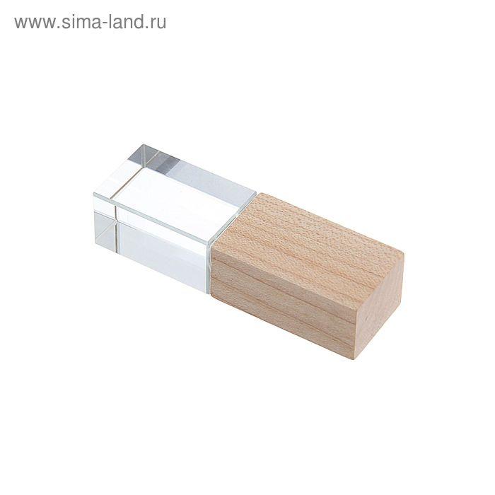 USB-флешка 8Gb, стеклянный кристалл, под 3D гравировку/лазерную гравировку, светлое дерево