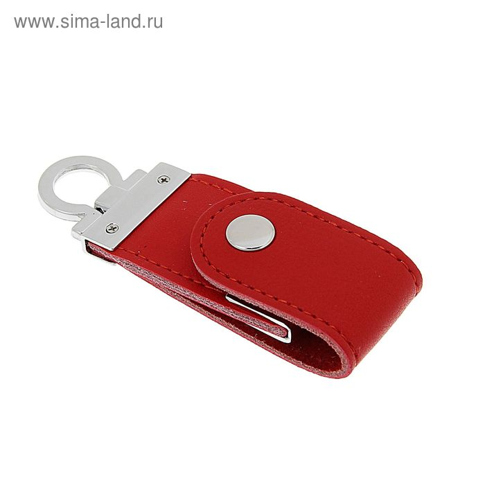 Флешка USB 8Gb, экокожа, под УФ-печать/лазерную гравировку/тампопечать, красная