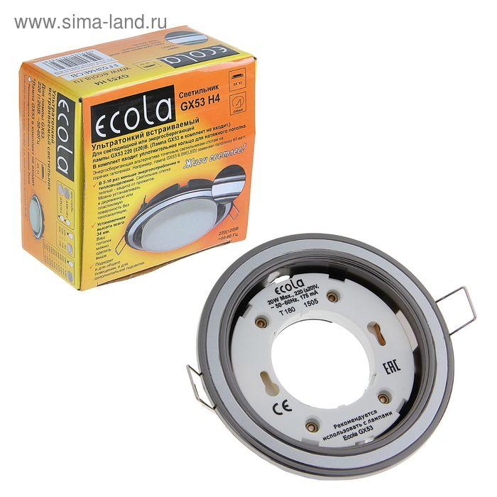 Светильник встраиваемый Ecola GX53, H4, без рефлектора, 38 х 106 мм, черный/хром