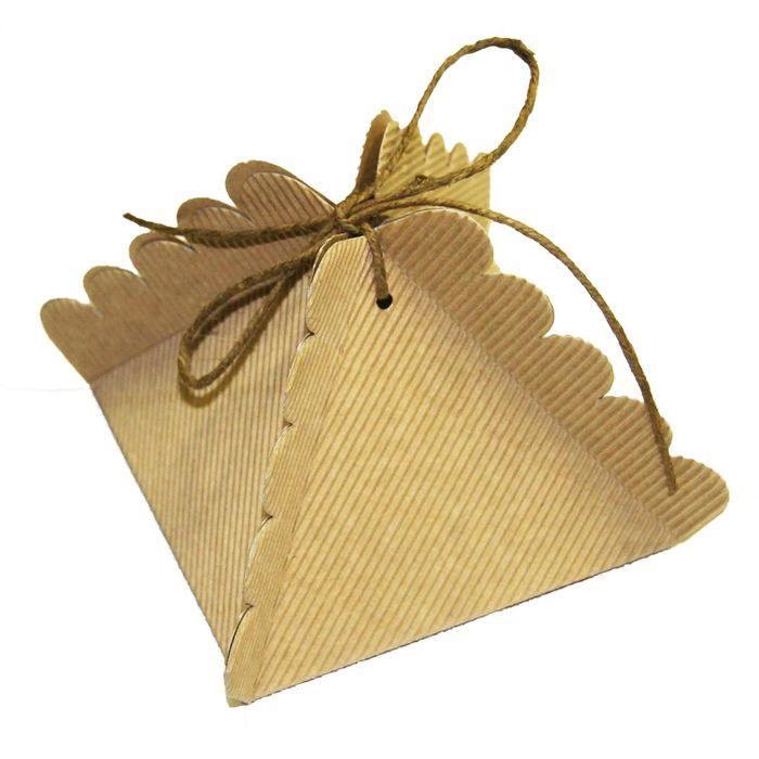 Коробка крафт из рифленого картона, пирамидка 10,5 х 10,5 х 9 см