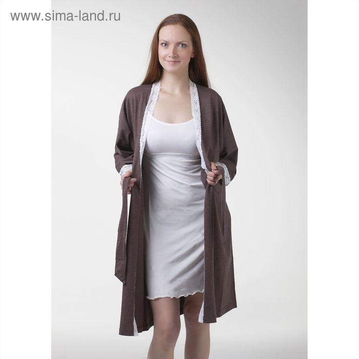 Комплект женский (сорочка+халат), цвет коричневый, размер 48