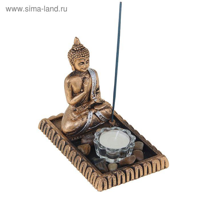 "Подсвечник 1 свеча, 1 палочка благовония ""Будда"" под золото"