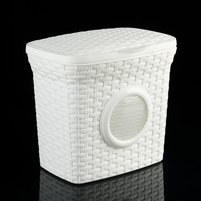 """Контейнер для стирального порошка с иллюминатором 10 л """"Ротанг"""", цвет белый"""