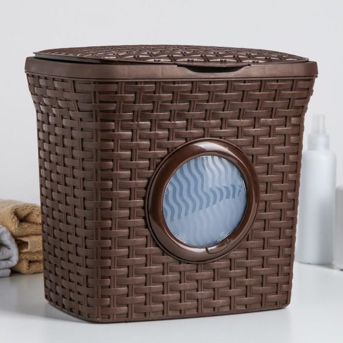 """Контейнер для стирального порошка с иллюминатором 10 л """"Ротанг"""", цвет коричневый"""