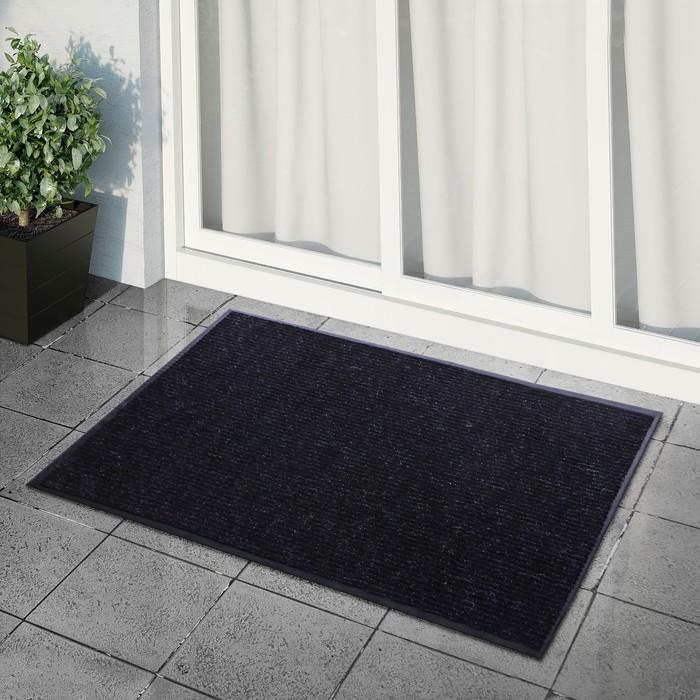 Коврик придверный влаговпитывающий, ребристый, «Стандарт», 90×120 см, цвет чёрный - фото 4657505