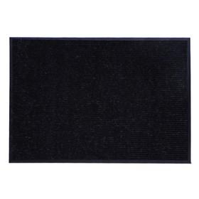 Коврик придверный влаговпитывающий, ребристый, «Стандарт», 90×120 см, цвет чёрный - фото 4657507