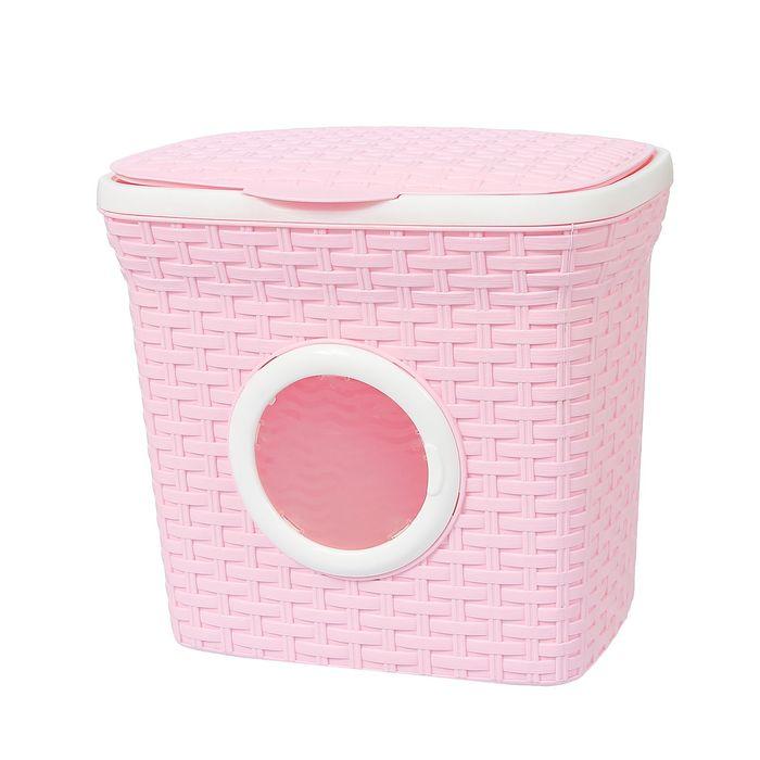 """Контейнер для стирального порошка с иллюминатором 10 л """"Ротанг"""", цвет розовый"""